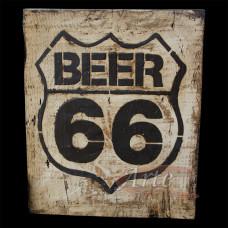 """Placa """"Beer 66"""" Grande em Madeira - 5228"""