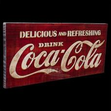 """Placa """"Coca-Cola"""" Vermelha em Madeira - 5230"""