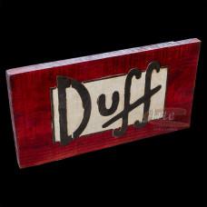 """Placa """"Duff"""" Vermelha em Madeira - 5231"""