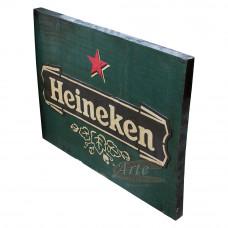 """Placa """"Heineken"""" Verde em Madeira - 5232"""