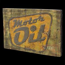 """Placa """"Motor Oil"""" Verde e Amarela em Madeira - 5234"""