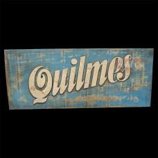 """Placa """"Quilmes"""" Azul em Madeira - 5236"""