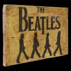"""Placa """"Beatles"""" Amarela em Madeira - 5238"""