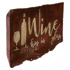 """Placa """"Wine a hug in glass"""" Vermelha em Madeira - 5239"""