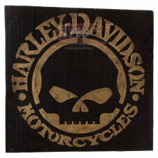 """Placa """"Harley Davidson Skull"""" Preta em Madeira - 5244"""