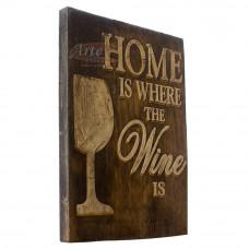 """Placa """"Home Wine"""" em Madeira - 5245"""