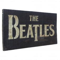 """Placa """"The Beatles"""" Preta em Madeira - 5246"""