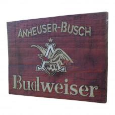 """Placa """"Budweiser Anheuser"""" Vermelha em Madeira - 5248"""