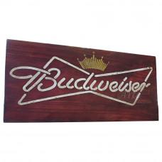 """Placa """"Budweiser Crown"""" Vermelha em Madeira - 5250"""