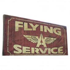 """Placa """"Flying Service"""" Vermelha em Madeira - 5251"""