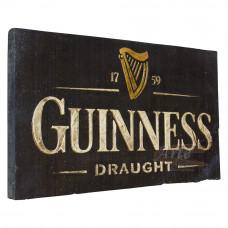"""Placa """"Guinness"""" Preta em Madeira - 5265"""