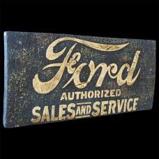 """Placa """"Ford Authorized"""" Azul em Madeira - 5266"""