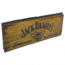 """Placa """"Jack Daniel's Honey"""" Amarela em Madeira - 5267"""