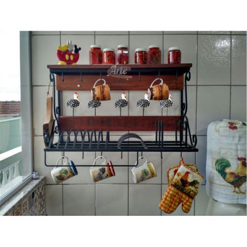 Porta Prato / Paneleiro 0,75 de ferro com prateleira de madeira - 3304