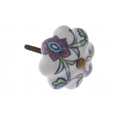 Puxador em Cerâmica Ondulado Floral - 1703V