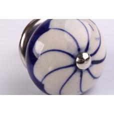 Puxador em Cerâmica Redondo Azul com Flor - 3076V