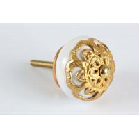 Puxador Redondo com Detalhe Dourado em Cerâmica - 3084V
