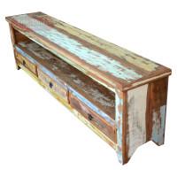 Rack de Madeira Rústico 2mts Colorido com 3 gavetas em Madeira de Demolição (Peroba Rosa) - 84580