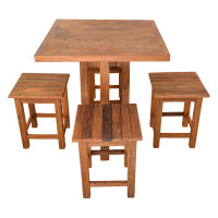 Conjunto Mesa Quadrada e 4 Banquetas de Madeira Rústica - 5441