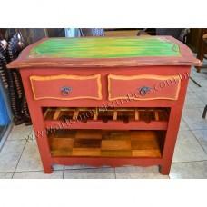 Armarinho-Adega c/ entalhe colorido-2860