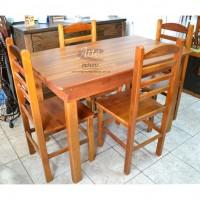 Conjunto Mesa 1,20 + 4 Cadeiras em Madeira de Lei - 2296
