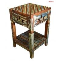 Criado Mudo / Mesa de Canto 2 Tampos Colorida em Madeira de Demolição - 2792