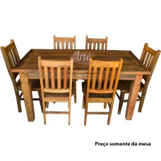 Conjunto Mesa 1,60 x 0,80 Retangular Rústica com 6 cadeiras Alemã em Peroba Rosa - 4718