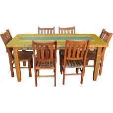 Conjunto mesa 1,80 x 0,80 com 6 cadeiras ripadas G - 4339