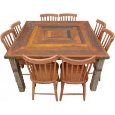 Conjunto Mesa 1,40 x 1,40 Marchetada + 8 cadeiras Country G -4360