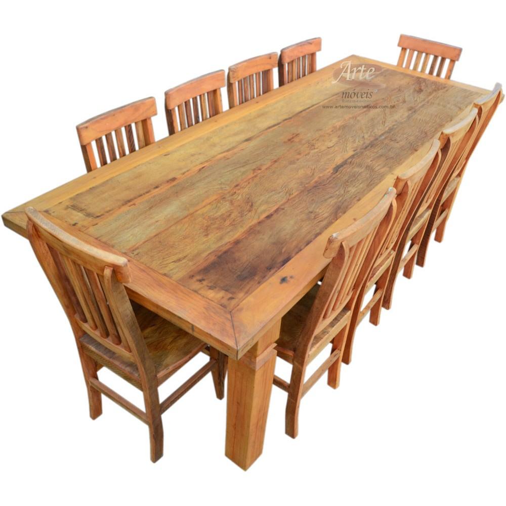 Conjunto mesa r stica 2 60 x 1 00 com 10 cadeiras 4400 - Mesas de noche rusticas ...