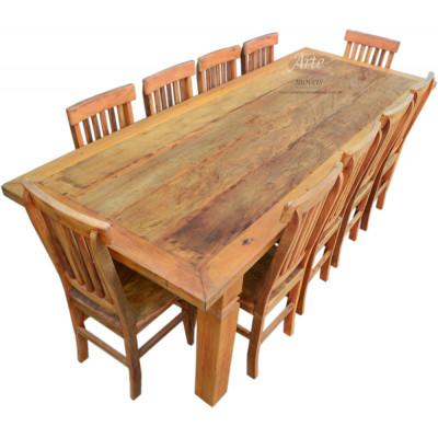 Conjunto Mesa Rústica 2,60 x 1,00 com 10 Cadeiras - 4400