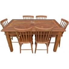 Conjunto Mesa 1,60 x 0,90 com 6 Cadeiras Country G - 4420