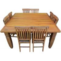 Mesa Quadrada 1,61 x 1,61 Plainada com 8 Cadeiras em Peroba Rosa- 4441