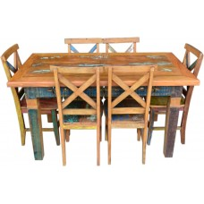"Conjunto Com Tinta Mesa Retangular 1,50 x 0,80 + 6 Cadeiras ""X"" - 4488"