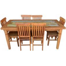 Conjunto Mesa Com Tinta 1,80 x 0,80 + 6 Cadeiras Mineiras Rústicas - 4518