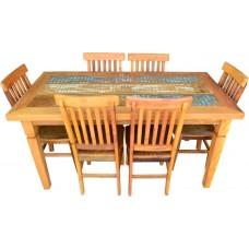 Conjunto Mesa Com Tinta 1,60 x 0,80 + 6 Cadeiras Mineiras Rústicas - 4520