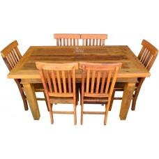 Conjunto Rústico Mesa 1,50 x 0,80 + 6 Cadeiras Mineiras - 4524