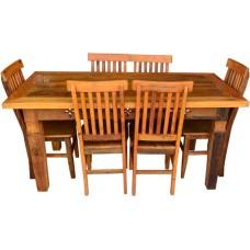 """Conjunto Mesa Entalhada 1,70 x 0,80 com 6 Cadeiras """"Mineira"""" - 4544"""