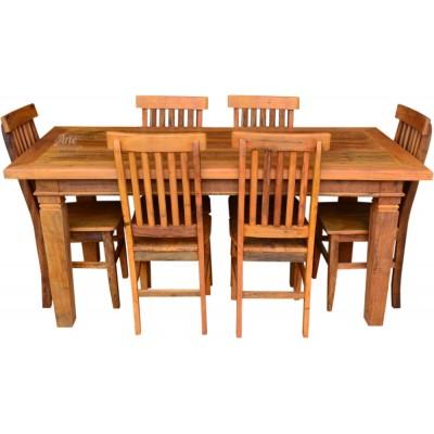 Conjunto Madeira de Demolição com Mesa e 6 Cadeiras Mineiras em Peroba Rosa