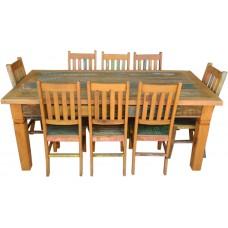"""Conjunto Com tinta Mesa com 2 Gavetas 2,00 x 1,00 + 8 Cadeiras """"Alemãs"""" - 4550"""