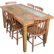"""Conjunto Mesa 1,60 x 0,80 Com Tinta + 6 Cadeiras modelo """"Country"""" - 4290"""