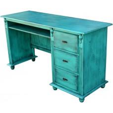 Escrivaninha de 1,45 azul envelhecido com 3 gavetas e pés torneados - 3135