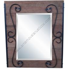 Espelho pequeno de madeira com detalhes em ferro - 3173