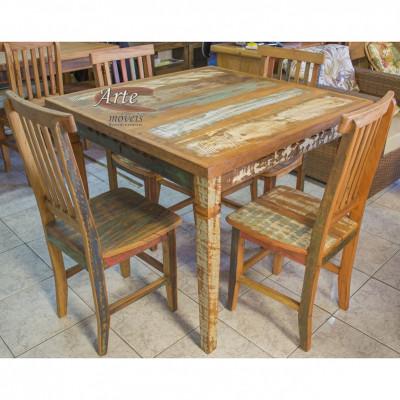Conjunto Com Tinta Mesa 1,00 x 1,00 com 4 Cadeiras Mineiras - 4680