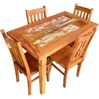 Conjunto Mesa 1,20 + 4 Cadeiras em Peroba - 4608