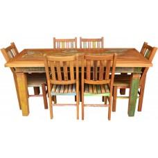 """Conjunto Com Tinta Mesa 1,80 x 0,80 com 6 cadeiras """"Alemãs"""" - 4543"""