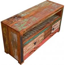 Rack  1,15 x 0,38 Rústico 2 Gavetas Entalhado com Tinta em Peroba Rosa - 3293