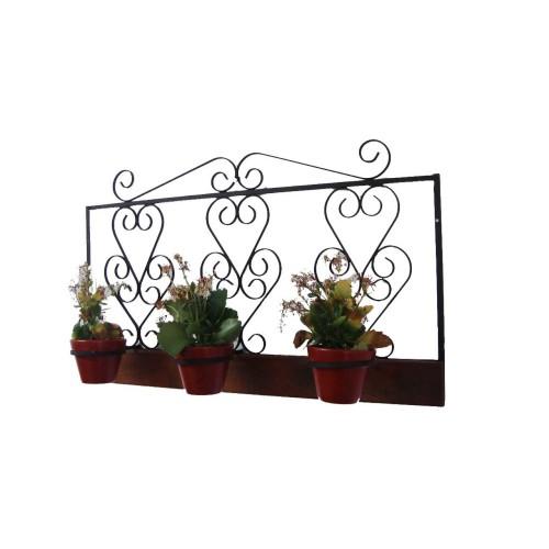 Floreira para 3 Vasos 1,00 x 0,60 em Ferro com Madeira - 1901